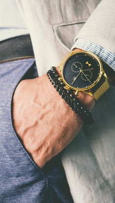 Men's luxury watches you can afford. Chronograph gold watch. Perfect gift for him.