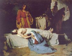"""Jesus' Body Laid in the Tomb. - Luke 23:55, """"And the women also, which came with him from Galilee, followed after, and beheld the sepulchre, and how his body was laid."""""""