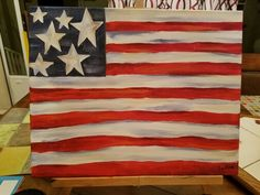 Acrylic painting flag, easy, beginner, paint night, canvas