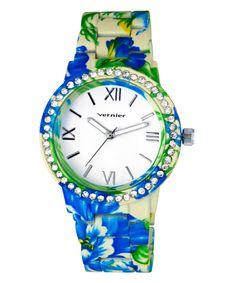 Look what I found on #zulily! Blue Floral Bracelet Watch by Vernier #zulilyfinds
