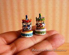 Dollhouses miniature carousel scale 1:12. Dollhouse miniature toys 12th. Handpainted decorative horses carousel.