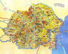 Illustrated map of Romania   Land of Maps