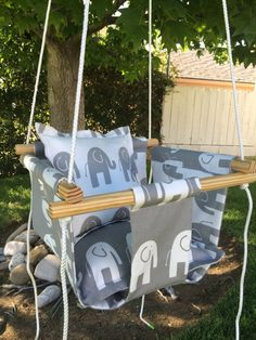Urban Baby Indoor/Outdoor Canvas Swing, Gray & White Elephants Toddler Swing, Baby Elephants Swing, 2 Pillows, Wood Frame, Rope, Hardware by BabySuzannaJohanna on Etsy