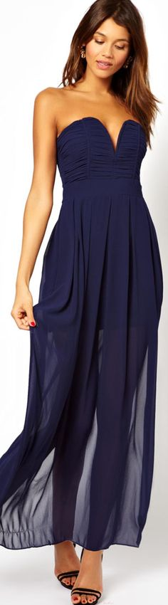 TFNC Maxi Dress With Plunge Bustier ♥✤ Wow this Navy maxi is just stunning! <3