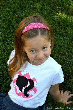 VINTAGE BARBIE CHEVRON Girls Applique Shirt