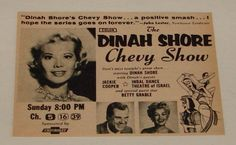 Dinah Shore Chevy Show | The Dinah Shore Chevy Show: 1958 TV Guide Ad - Sitcoms Online Photo ...