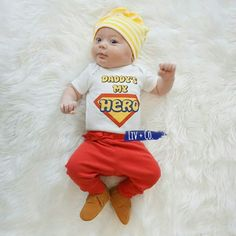 """Superhero Dad, """"Daddy's My Hero"""" baby bodysuit and toddler tee shirt for boy's and girl's is the perfect top forany child year round, but especially for Father's Day. FREE Shipping in the USA!"""