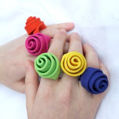 bright color textile fun ring adjustable ring by clireu on Etsy, $22.00
