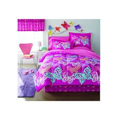 This fun comforter set features multicolored butterflies atop a fuchsia background. Constructed of quality cotton and polyester, this set is both comfortable and conveniently machine washable.