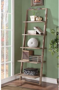 Ladder Shelf Bookcase Storage Wood Home Rack Leaning Bookshelf Shelves  #RiversideFurniture