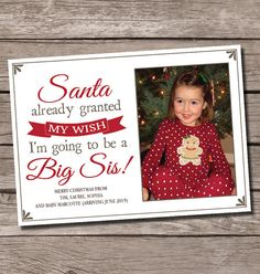 Santa already granted my wish, I'm going to be a big sis! pregnancy announcement christmas card, christmas pregnancy announcement, big sister pregnancy announcement, big brother pregnancy announcement, by SweetfaceCelebrations on Etsy