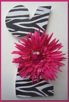 Girls Birthday Number Prop Zebra Hot Pink Flower 3rd by dmh1414, $12.50