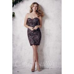 Christina Wu 22651 Sheath Bridesmaid Dress Satin Lace Strapless