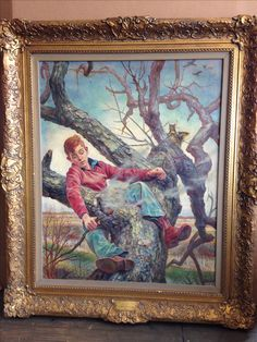 """Charles Banks Wilson """"The Squirrel Tree"""" Oil"""
