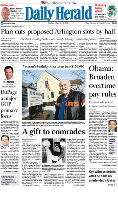 Daily Herald front page, March 14, 2014; http://eedition.dailyherald.com/ Cover story raises money for veterans.