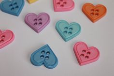 Cute colorful heart shape buttons 18 mm by BeadsButtons4Crafts