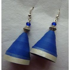 paper jhumka-  blue silver