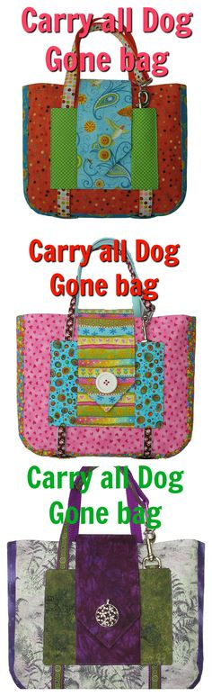 Dog bag pdf downloadable sewing pattern available now. Now you can carry all that pooch paraphernalia in the Dog Gone Bag. It has room for a food bowl, water bottle, treats, toy and plastic bags. The no-sew handle is a detachable 6' leash or you can choose to use webbing. It makes a wonderful gift for dog-loving family and friends.
