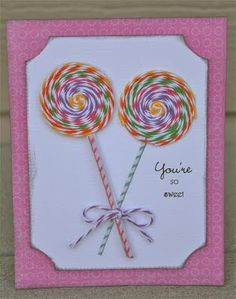 Twine Lollipop Card - So 'sweet'!