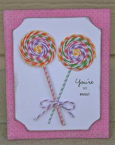 Twine Lollipop Card - So 'sweet'!
