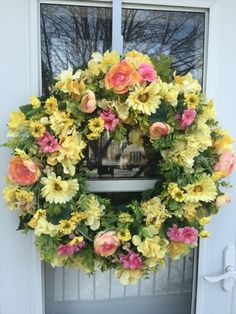 Yellow Gerbera Daisies and Hydrangea with Pink Accents and Lush Greens - Wreaths By Julie