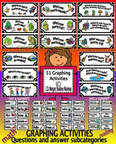 51 graphing activities designed to create a positive classroom community and really get to know each student while learning Math, practicing reading, writing and improving vocabulary.This product includes 51 cards with questions. Each question has various answer cards as subcategories and the opportunity for each child to further develop his/her answer and create a completely different one from the choices given.  #math #reading #writing #graphing #CCSS