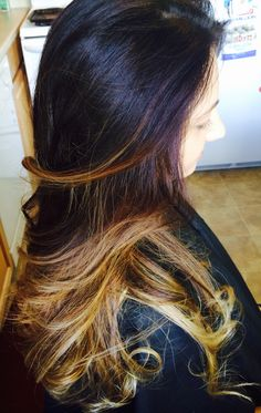 Ombre by me. Redken Color Fusions 3N at base, Redken Blonde Icing on ends