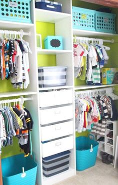 Baby Boy Nursery Closet Idea - this closet design is better for a longer closet (like the kids with bi-fold doors) - great organization and use of blues and greens.