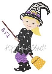 Witch Flying Applique - 4 Sizes! | Halloween | Machine Embroidery Designs | SWAKembroidery.com AppliqueChick
