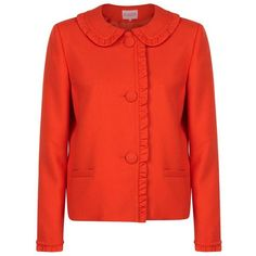 Claudie Pierlot  Veronica Ruffle Jacket (19,655 PHP) ❤ liked on Polyvore featuring outerwear, jackets, tailored jacket, claudie pierlot, red jacket, red ruffle jacket and woven jacket