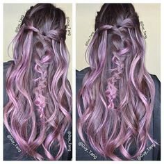 Bohobraids Balayage Ombre (Mix Guys With Braids) Balayage Hair Purple, Purple Hair, Ombre Hair, Purple Ombre, Funky Hairstyles, Pretty Hairstyles, Grow Long Hair, Short Hair, Grunge Hair