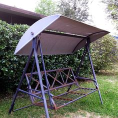 Custom sewn Lowes canopy replacement for metal backed patio swing & Outdoor Patio Porch Swing w/ Canopy Cover 3 Person Seat Porch ...