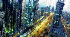 Urban Mixed Media - Abstract City At Night by Terry Davis #Manhattan  @terryikon