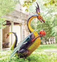 Giant Dragon Solar-Powered Garden Sculpture Stands 7 Feet Tall