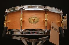 """Noble & Cooley 14 x 5"""" solid   steam-bent Classic rock Maple 1/4"""" shell in Natural Oil finish, Nodal Point mounted lugs and hand cut bearing edges true to 1/10,000th of an inch."""