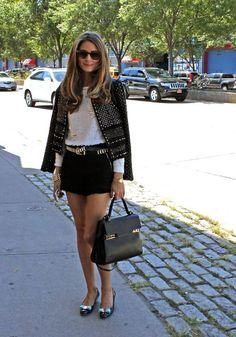 Olivia Palermo flaunted her style at the New York Fashion Week spring 2014 Rebecca Taylor runway show, where the socialite wore a chic jacket and shorts look. Image Fashion, Look Fashion, Fashion Outfits, Womens Fashion, Fashion Trends, Fashion Weeks, Simply Fashion, Look Olivia Palermo, Estilo Olivia Palermo