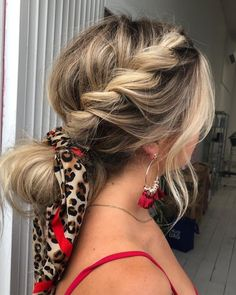 side twisted braids bun hair scarf Hair scarf is a decorative element that enhances the look of your hair. Here are 25 great ideas how to wear hair scarf you must try this summer! Box Braids Hairstyles, Braided Ponytail Hairstyles, Wedding Hairstyles For Long Hair, Hairstyle Ideas, Hairstyles With Scarves, Date Night Hairstyles, Hair Ideas, Blonde Hairstyles, Hairstyles 2018