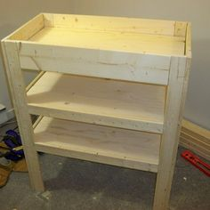 diy Baby changing table - Baby Change Table With Storage Shelves Baby Changing Tables, Changing Table Dresser, Table Shelves, Storage Shelves, Firewood Storage, Bed Storage, Baby Furniture, Furniture Plans, Children Furniture