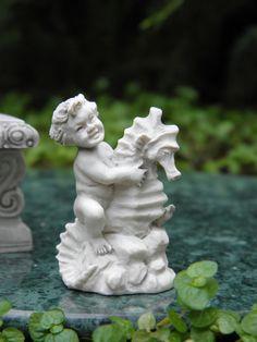 Miniature Dollhouse Fairy Garden Accessories Gray Cherub w Seahorse Statue