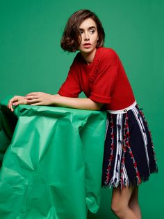 Lily Collins for Barrie Knitwear Spring 2015 Collection