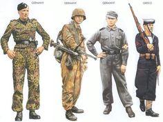World War II Uniforms - Germany - 1944 Apr., Poland, Private, Leibstandarte Division Germany - 1944 June, Normandy, Private, Hitlerjugend Division Germany - 1944 Sep., Leipzig, Auxiliary, Flak unit Greece - 1941 Apr., Greece, Able Seaman, Greek Nav