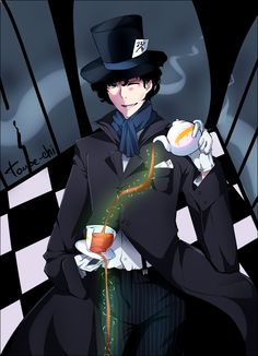 Sherlock the Mad Hatter. Nopenopenope. I cannot even take this, it's too awesome. Oh, and look what his hat says!!