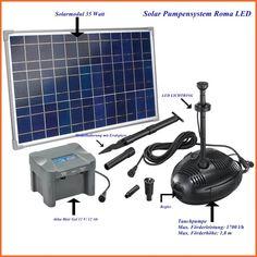 Solar Pumpensystem Roma LED Teichpumpensystem 35 W Solarmodul 1700 l/h 101726
