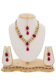 Buy American Diamond Studded Necklace Set online, work: American Diamonds, color: Fuschia / White, usage: Festival, category: Jewelry, fabric: Others, price: $26.34, item code: JPM1622, gender: women, brand: Utsav