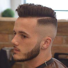 High Razor Fade + Short Comb Over + Thick Beard