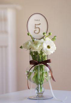 Embellished Table Number Centerpiece