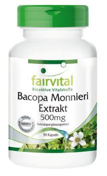 Bacopa Monnieri Extrakt 500mg 90 Kapseln, Brahmi, kleines Fettblatt, standardisiert auf 20% Bacoside