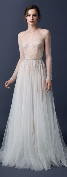 Mild Bling, light romantic texture. Open to long sleeves. Paolo Sebastian Couture Fall/Winter 2014-2015