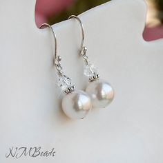 Wedding Bridal Swarovski Pearl Dangle Earrings Sterling Silver
