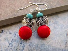 Southwest ~ Bohemian earrings add a festive flare this time of year. The desert southwest is rich in Christmas traditions. A magical place to be over the holiday. I designed these earthy earrings to have a casual, bohemian feel of Santa Fe, New Mexico. Turquoise blue and red is a